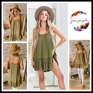 FREE PEOPLE BOHO MINI TANK SLIP TUNIC DRESS A3C